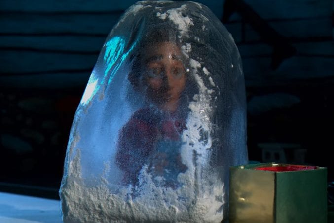 Claymation Abed is frozen in ice