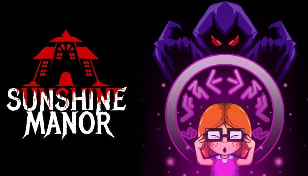 Title for Sunshine manor shows a young girl haunted by a mysterious cloaked figure
