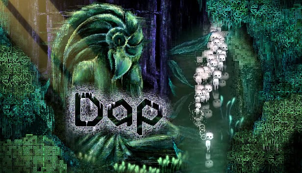 Art for Dap features a giant Avian statue and a parade of mysterious white figures