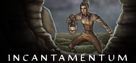 Incantamentum art shows a female explorer entering a cave.