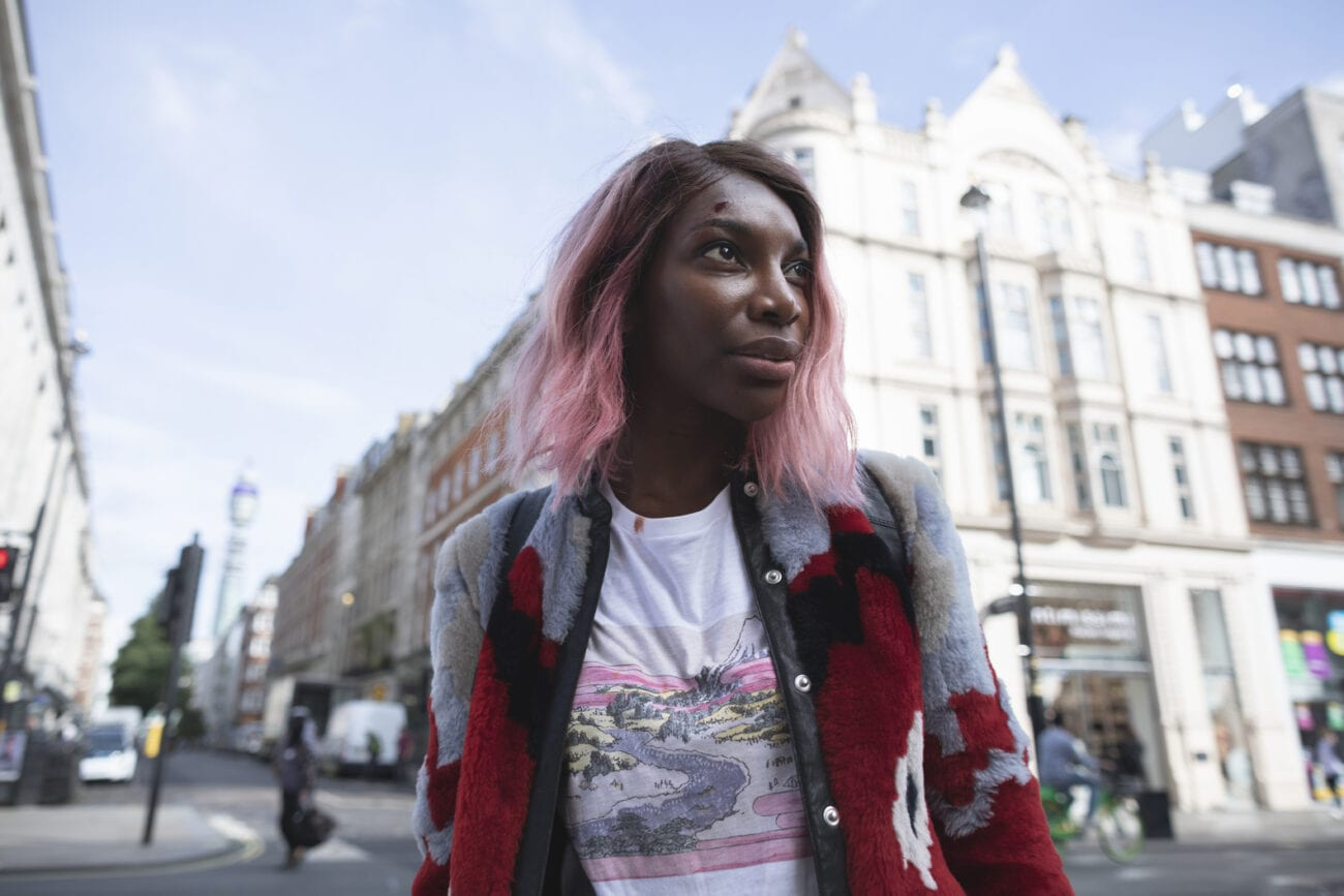 Michaela Coel on the street in I May Destroy You