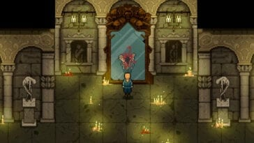 Screenshot for Lamentum shows the protagonist staring at a perverted reflection in the mirror