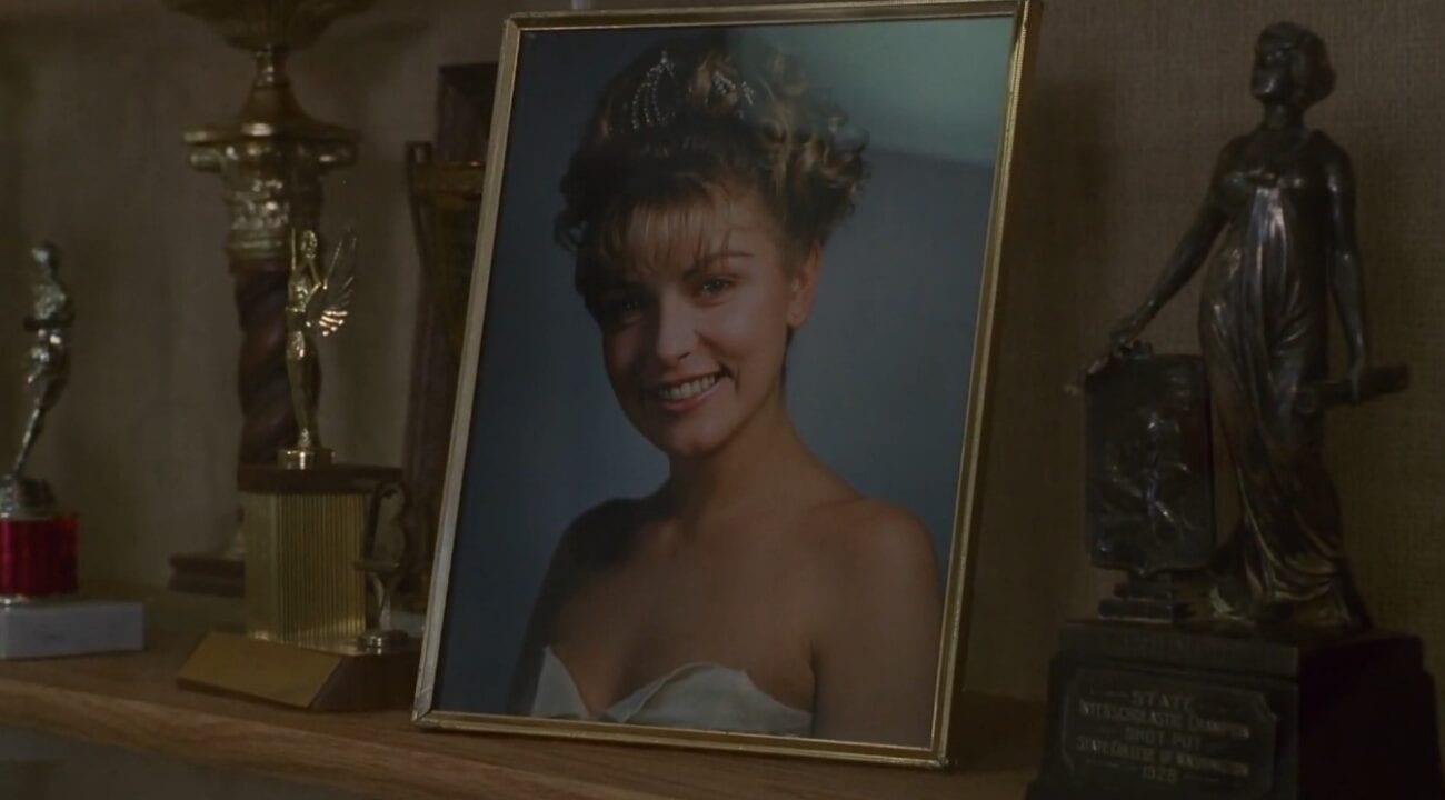 Laura Palmer's homecoming photo on display among trophies.