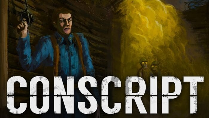 Title screen for Conscript shows a man in blue wielding a pistol in a trench