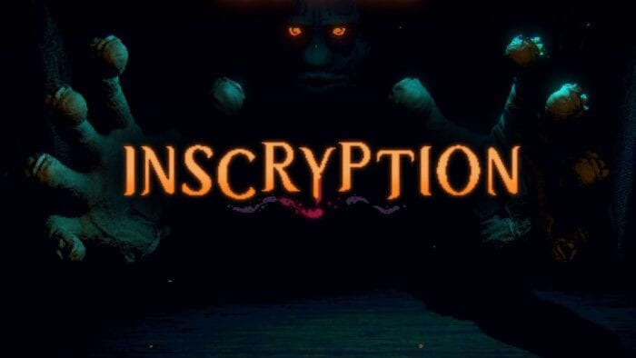 Art for Inscryption shows a mysterious person with glowing eyes reaching from the shadows