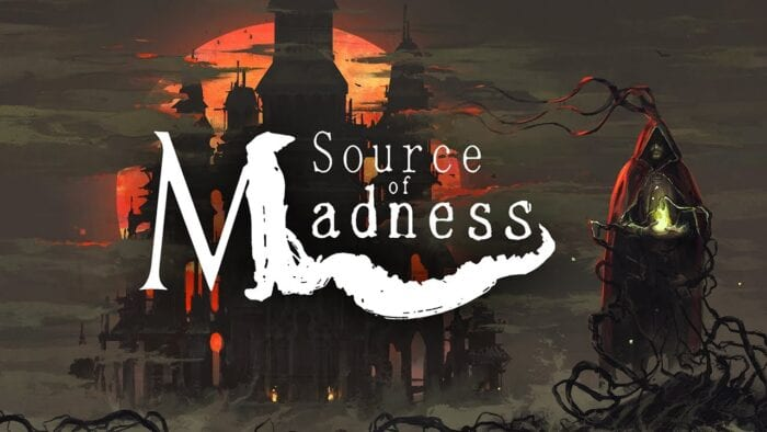 Art for Source of Madness shows a cloaked figure standing in front of a large castle