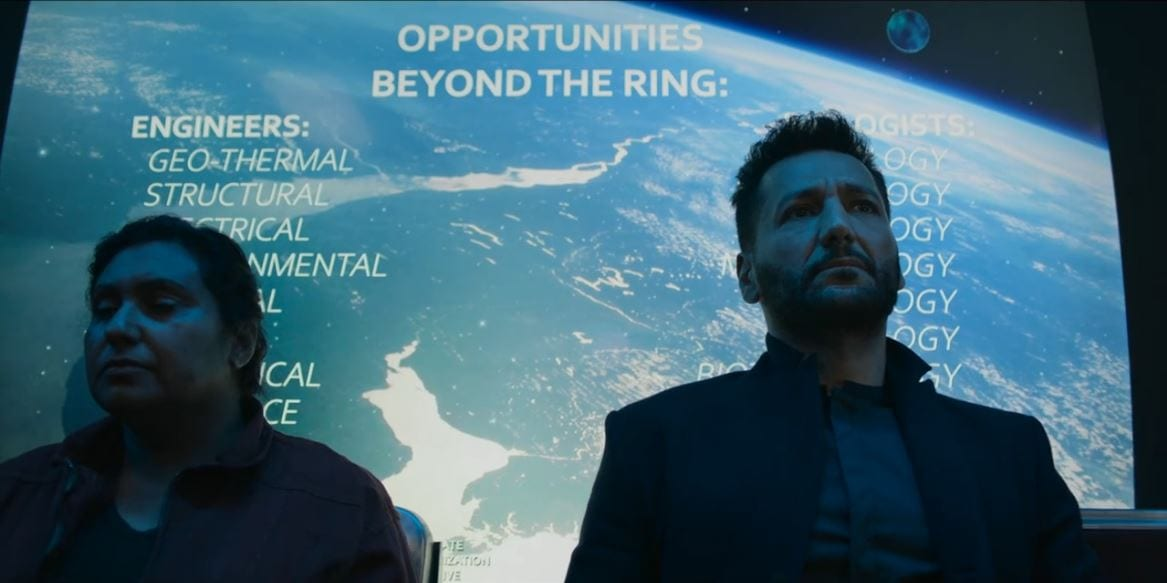 Alex sits by a stranger in front of an ad on Mars for opporunities beyond the ring in The Expanse S5E1