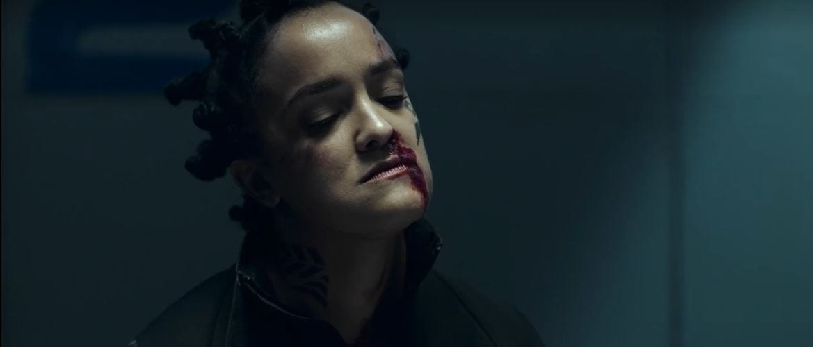 Sakai has her head tilted and blood running from her nose in The Expanse Season 5 Episode 5