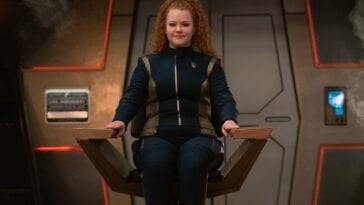 Tilly (Mary Wiseman) in the Discovery capain's chair
