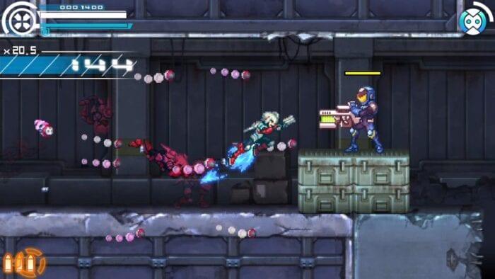Copen dashes towards a gun toting enemy