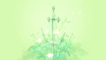 a sword sticks out of the ground, surrounded by plants