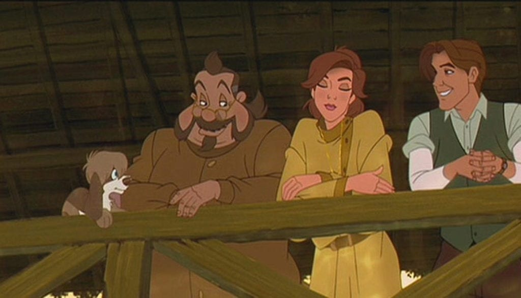 Anastasia, Dimitri, and Vladimir all look down from a bridge in this childhood film