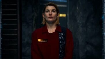 "The Thirteenth Doctor (Jodie Whittaker) contemplates her life while in prison in Doctor Who ""Revolution of the Daleks"""