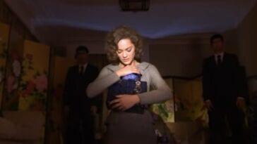 Marion Cotillard cradles a blue purse in David Lynch's Lady Blue Shanghai