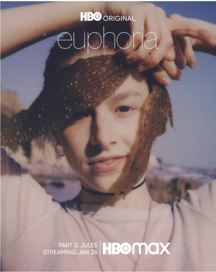 Jules drapes a piece of seaweed across her face at the beach on the Poster image for HBO's Euphoria