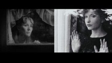 On the left, Mary X from the David Lynch film Eraserhead. On the right, Maya Deren in Meshes of the Afternoon. Both women are framed at a window in black and white.