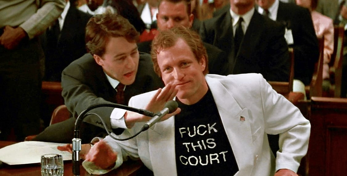 Allan Issacman attempts to prevent Larry Flynt from saying something outlandish in court