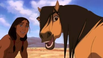 Spirit and Little Creek look behind them in this childhood film