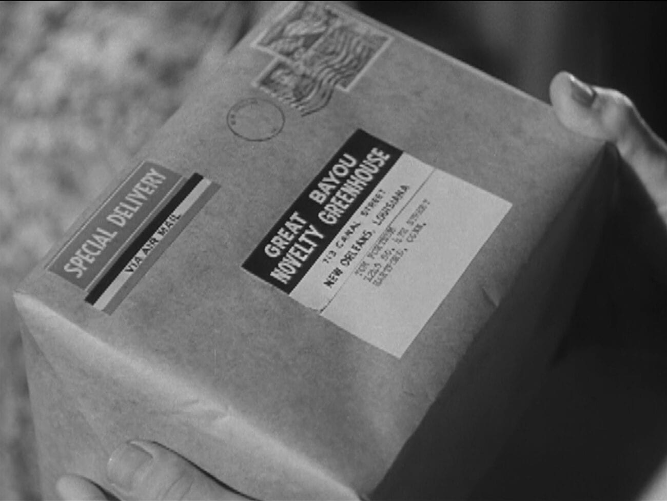 "A special delivery box is held in a Cynthia's hands in Alfred Hitchcock Presents ""Special Delivery"""