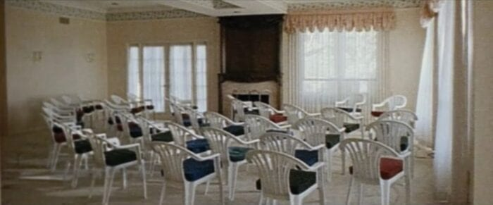 chairs set up in the Heaven's Gate headquarters for a meeting