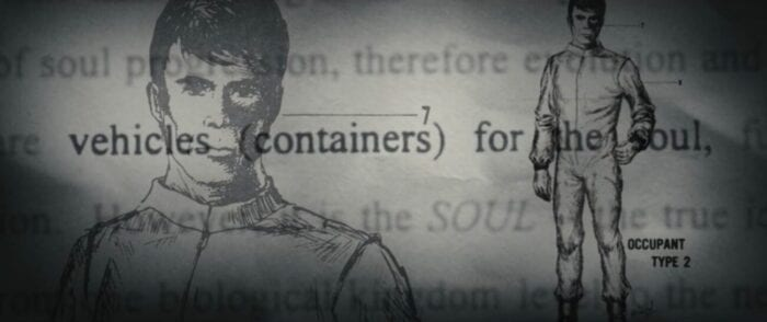 """Illustration of a man in uniform with the words """"vehicles (containers)"""" over him"""