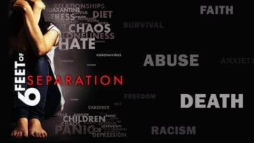 Words proliferates on a black background with a person in the foreground on the poster for Six Feet of Separation