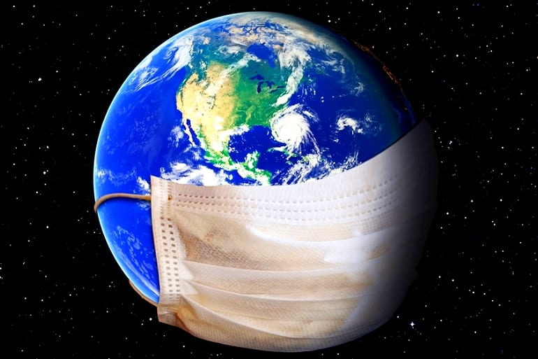 Illustration of the Earth was a mask covering it