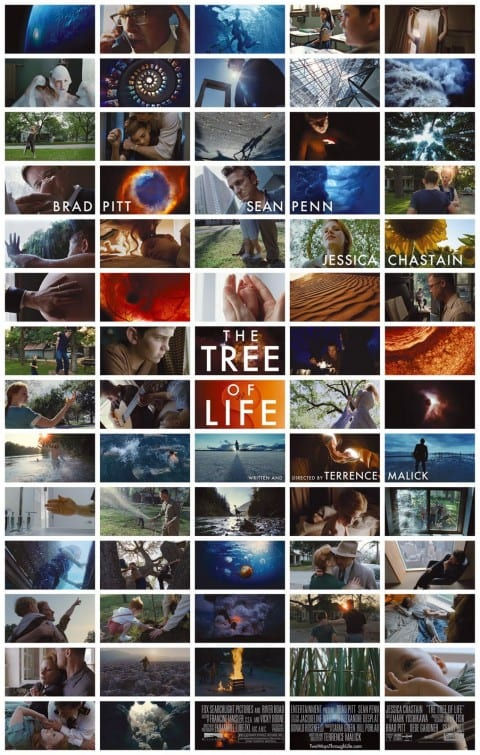 "The poster for ""The Tree of Life"" show natural imagery from the film in a mosaic."