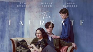 The cast pose around a couch in a poster for The Laureate