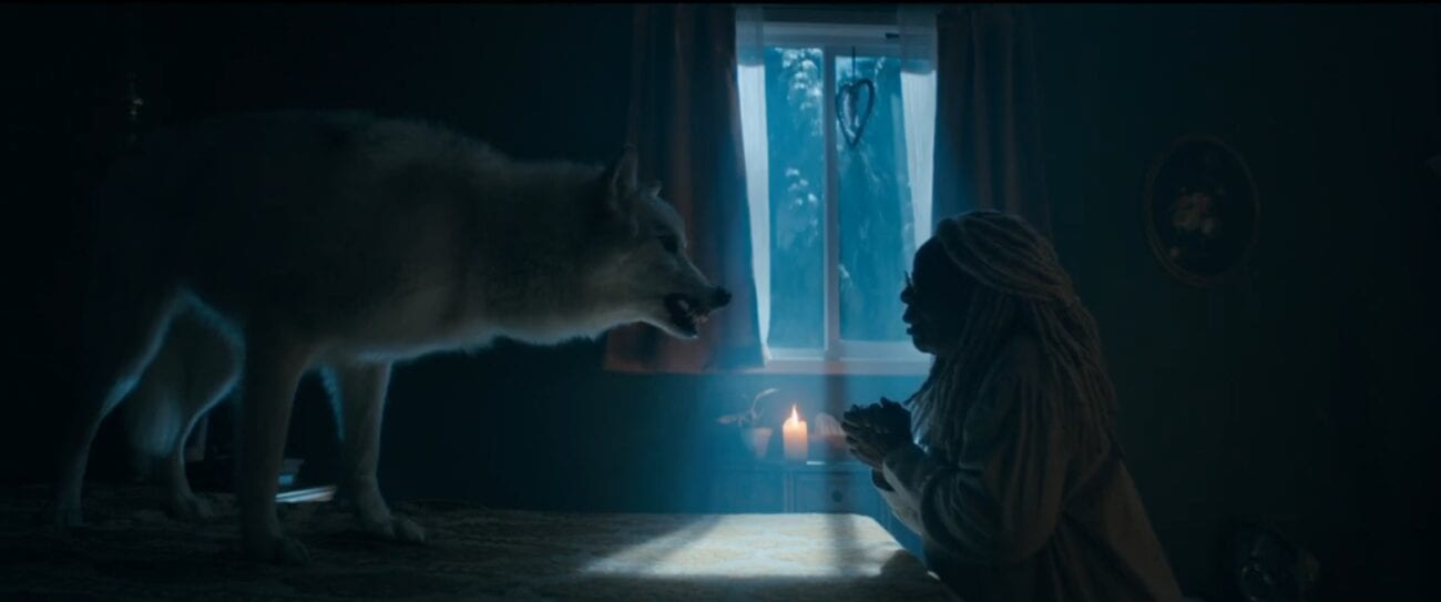 The Stand S1E5 - Mother Abagail sits at a table in the dark, a large gray wolf facing her on the table, snarling