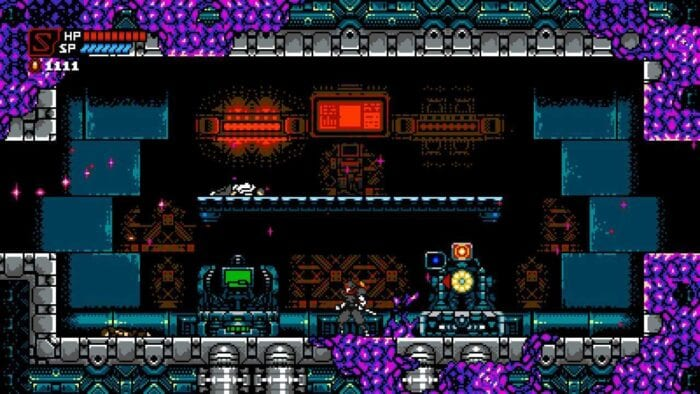 The ninja stands in a room with some terminals and a checkpoint