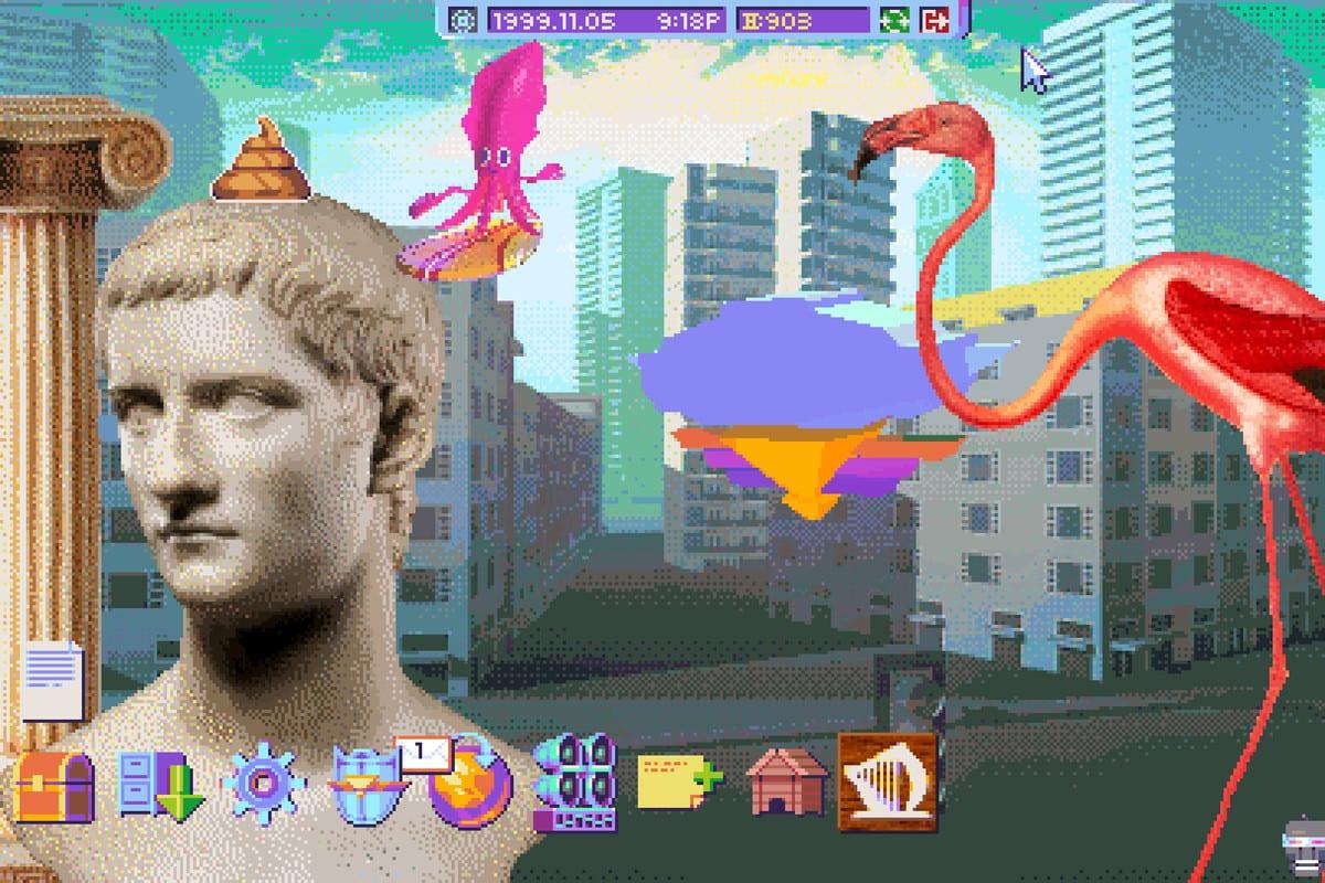 A bust of Julius Caesar, a squid and a flamingo decorate a computer desktop
