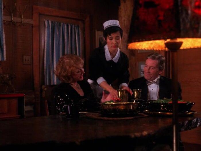 josie serves dinner to catherine and thomas eckhardt