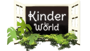 the Kinder World logo, inside an open window surrounded by plants