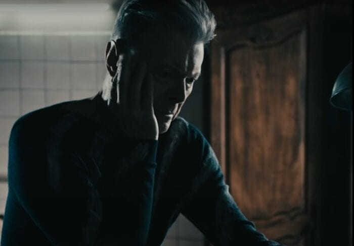 "Bowie contemplates his final message in the video for ""Lazarus."""