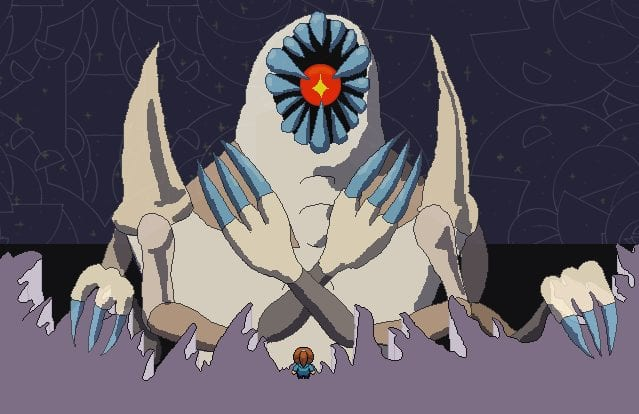 a pixel sprite of a woman stands in front of a giant creature. it has a pallid colour and four clawed arms. two are folded over its chest. it has a giant eye surrounded by teeth instead of a face