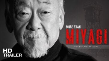 Pat Morita in black and white with the title of the documentary next to him