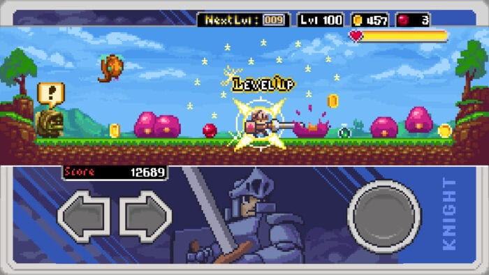a knight runs back and forth battling small pink slimes. underneath him is a button display of two arrows and a round button