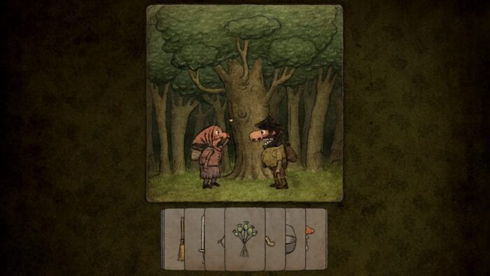 an old woman in a headscarf and a bearded man talk in front of a tree. underneath them is a series of cads with pictures on them