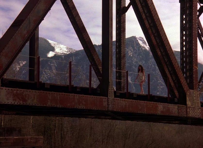 Ronette walks across the rail road bridge twin peaks pilot