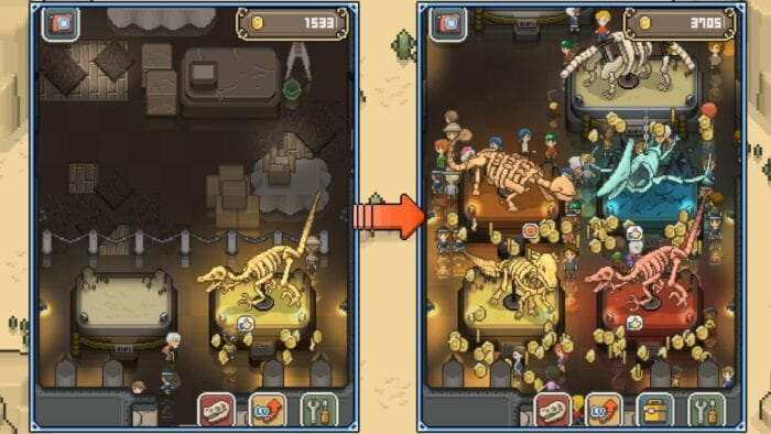 two images. the left has a almost empty museum, with one dinosaur skeleton. the right has many visitors and dinosaur skeletons displayed with coins scattered around the ground