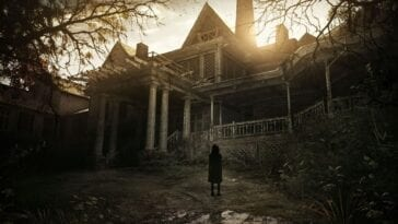 Title for Resident Evil 7 shows the Baker house with the shadow of a little girl standing in the foreground