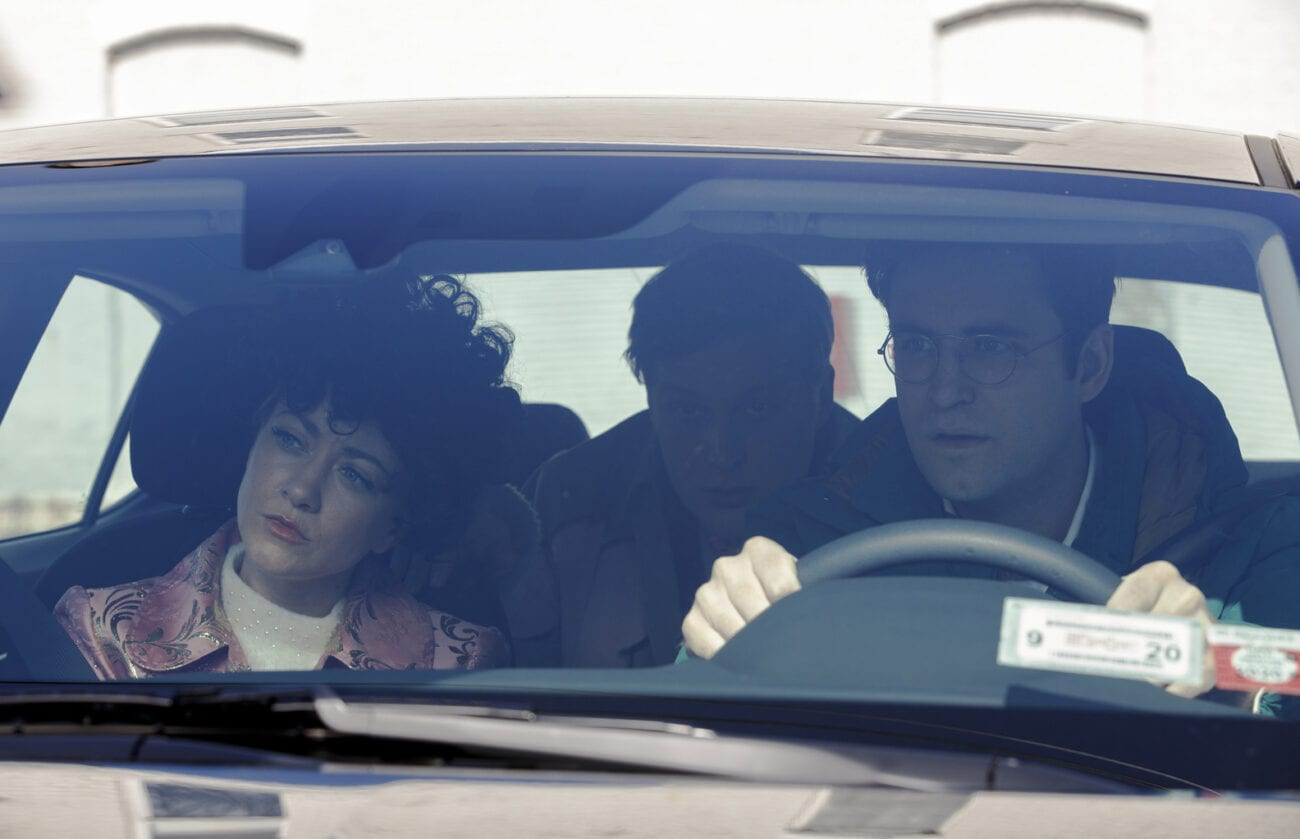 Elliott, Drew, and Portia sit in the car in Search Party ending