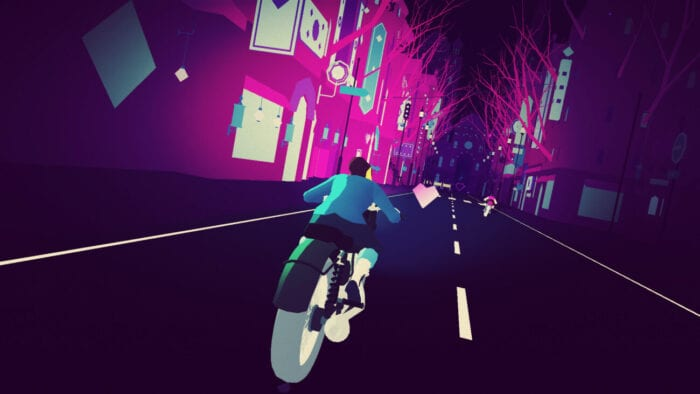 a woman rides a motorbike in a purple and pink coloured cityscape in this feel-good indie game