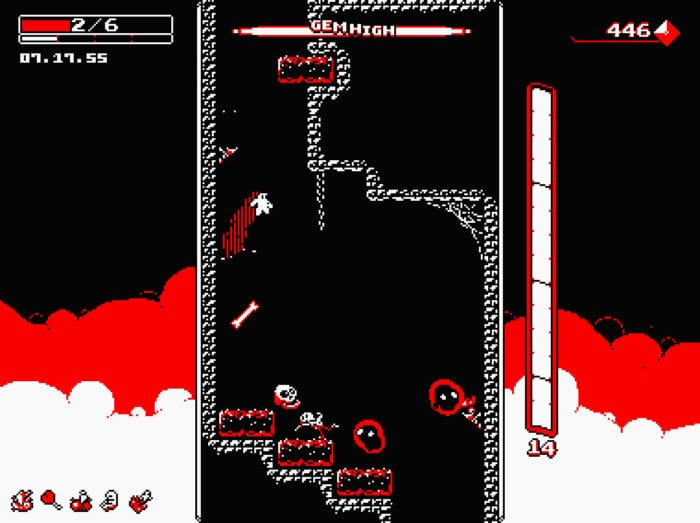 a small stickman like character jumps from a wall in a monochromatic mine shaft. the screen is bordered by a stats display in front of a black, red and white sky