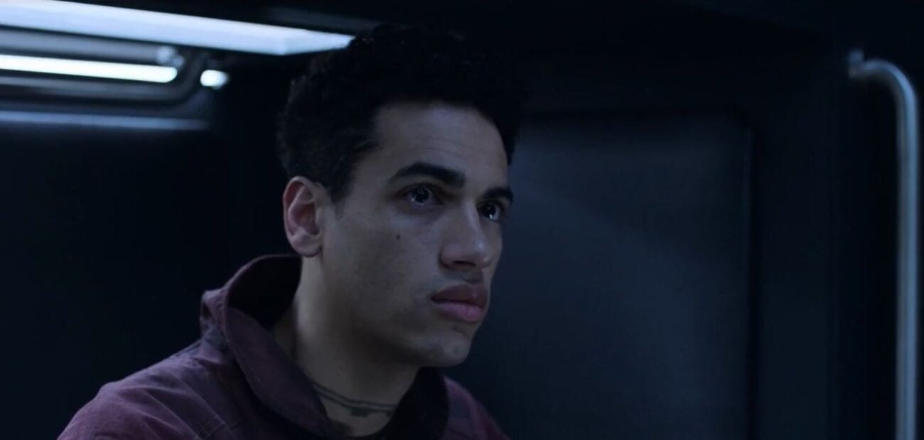 "Filip looks on pensively in The Expanse S5E7 ""Oyedeng"""