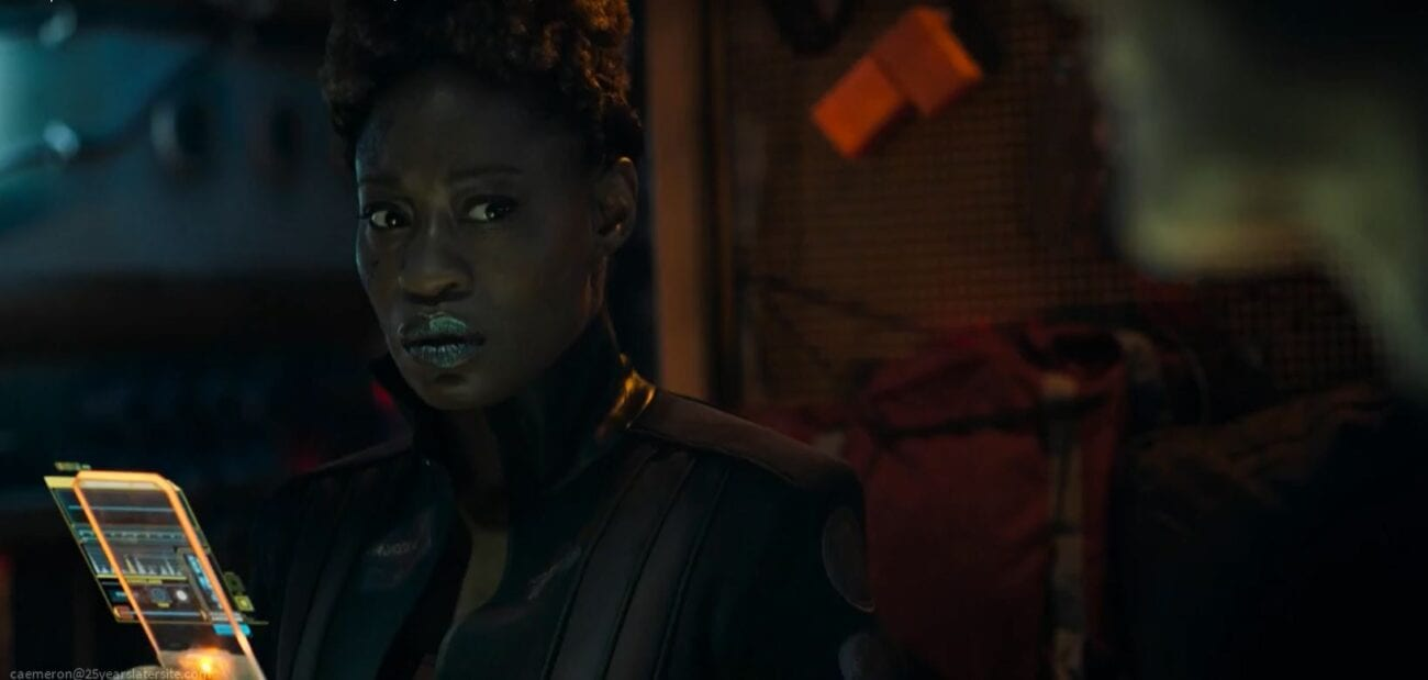"""Karal looks at a comm in The Expanse S5E8 """"Hard Vacuum"""""""