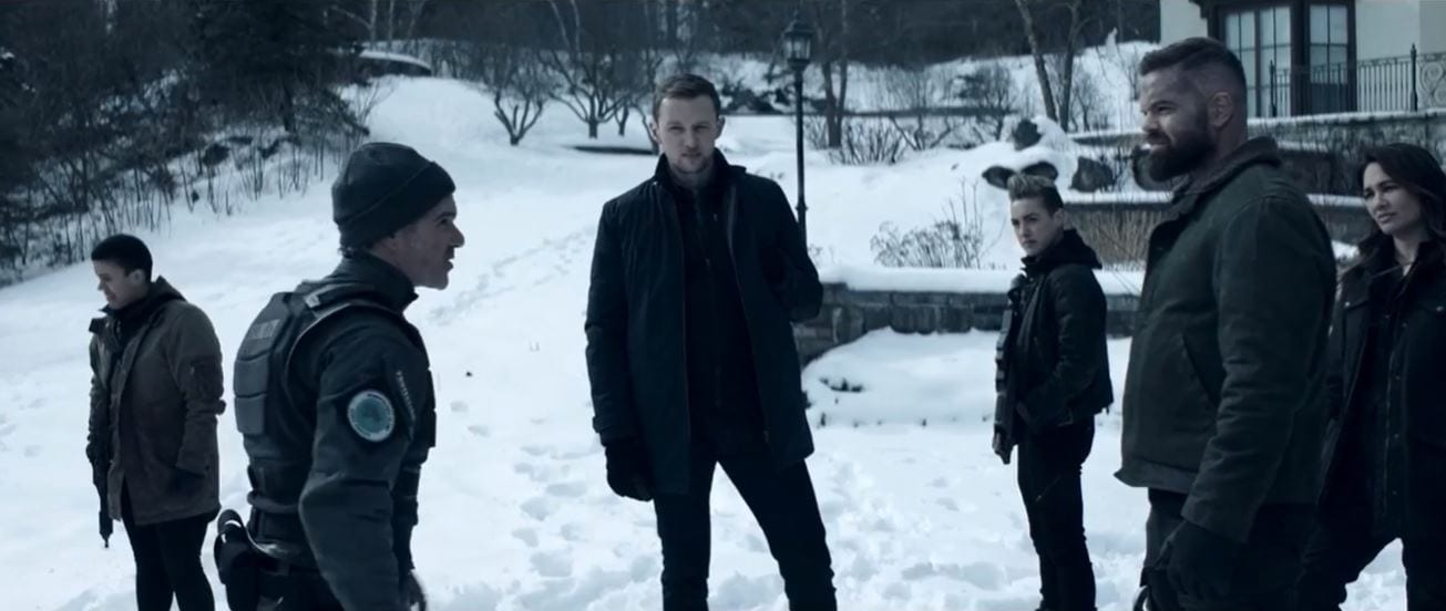 Amos faces off with a rent-a-cop at Lake Winnipesaukee as Erich looks on in The Expanse S5E9