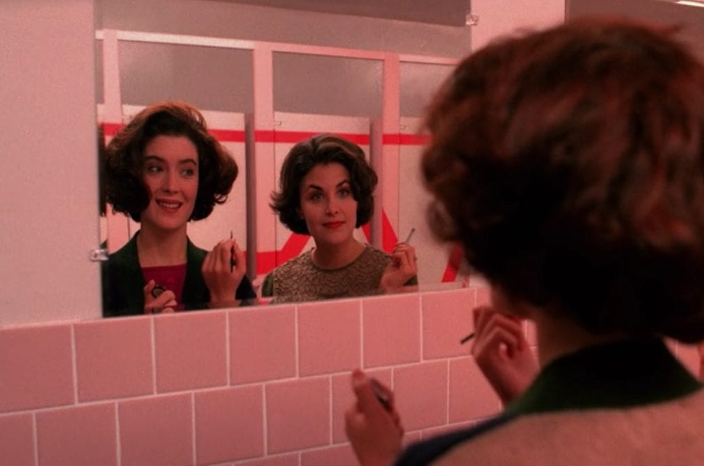 Donna and audrey in the high school bathroom
