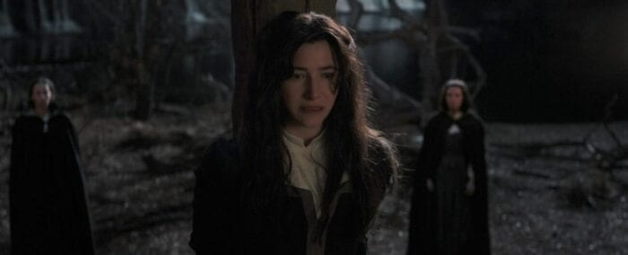 Agatha Harkness (Kathryn Hahn) at the stake in Salem 1693...